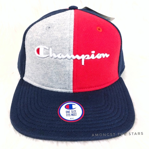 3a4e39c3ace56 Champion Reverse Weave Red Blue Grey Strapback Hat